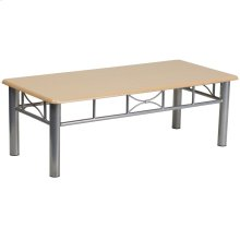 Natural Laminate Coffee Table with Silver Steel Frame