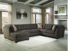 Delta City 3-Pc Sectional LAF Corner Chaise w/ Armless Loveseat and Sleeper Sofa - Steel Collection