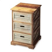 """This charming chairside chest offers three drawers for convenient storage and open """"X side supports for a modern aesthetic. Handcrafted from mango hardwood solids and wood products, it features a two-tone finish of washed and natural wood tones. Product Image"""