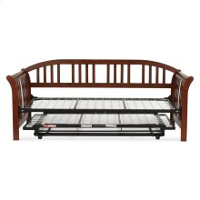 Salem Complete Wood Daybed with Link Spring Support Frame and Pop-Up Trundle Bed, Mahogany Finish, Twin