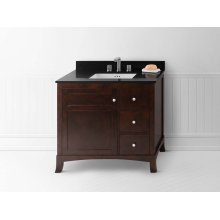"Hampton 36"" Bathroom Vanity Cabinet Base in Vintage Walnut - Door on Left"