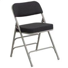 Premium Curved Triple Braced & Double-Hinged Black Pin-Dot Fabric Metal Folding Chair