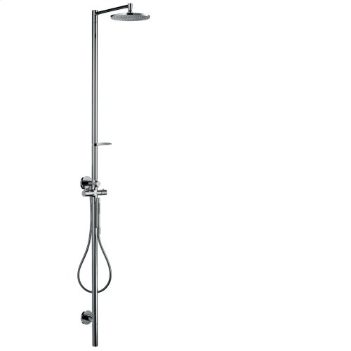 Brushed Gold Optic Shower column with thermostat and plate overhead shower 240 1jet