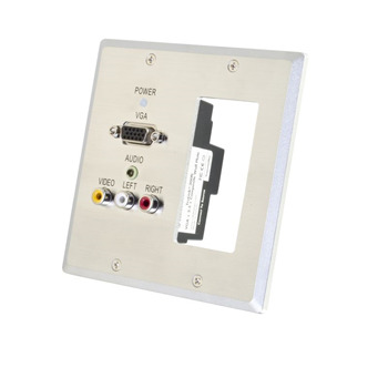 TruLink(R) Double Gang VGA+3.5mm Audio+Composite+Audio over Cat5 Wall Plate Transmitter with 1 Decorative Compatible Cutout- Aluminum