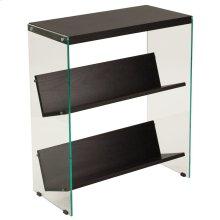 Espresso Finish Bookshelf with Glass Frame