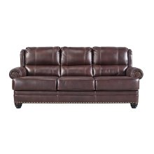 Leather Match Sofa, Chestnut