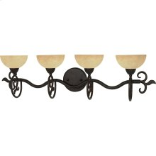 """4-Light 32"""" Old Bronze Wall Mounted Vanity Fixture with Tuscan Suede Glass"""