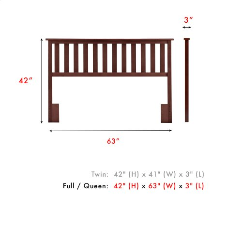 Belmont Wood Headboard Panel with Flat Top Rail and Slatted Grill Design, Merlot Finish, Full / Queen