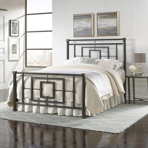 Sheridan Bed with Squared Metal Tubing and Geometric Design, Blackened Bronze Finish, Full
