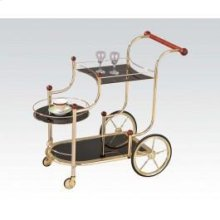 Gold Serving Cart W/bk Glass