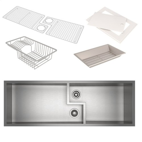 Culinario Double Bowl Ultimate Water Appliance Stainless Steel Sink With Accessories
