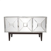 Mirrored Cabinet with 3 Pyramid Shaped Doors