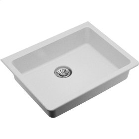 "Elkay Quartz Classic 25"" x 18-1/2"" x 5-1/2"", Single Bowl Undermount ADA Sink with Perfect Drain, White"
