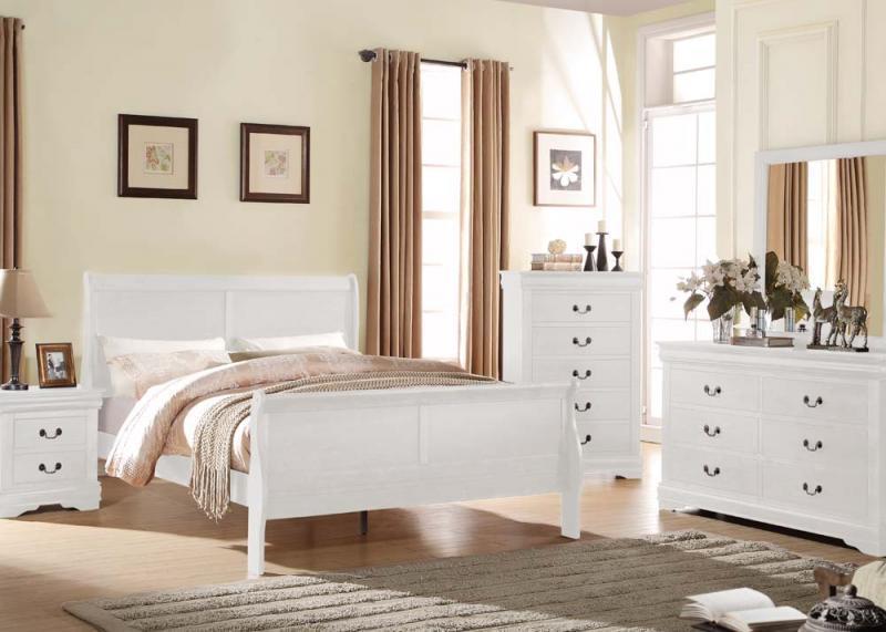 Louis Philippe White 4pc Queen Bedroom Set