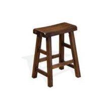 "24""H Santa Fe Saddle Seat Stool w/ Wood Seat"