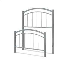 Rylan Fashion Kids Metal Headboard and Footboard Bed Panels with Gently Arced Top Rails and Vertical Spindles, Shadow Gray Finish, Twin