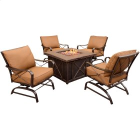 Summer Night 5 Pc. Fire Pit Set - Four Cushion Rockers and a 40 in. Square Fire Pit