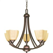 "5-Light 25"" Copper Bronze Chandelier with Champagne Washed Linen Glass"