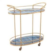 Zaphire Bar Cart Blue & Antique Gold