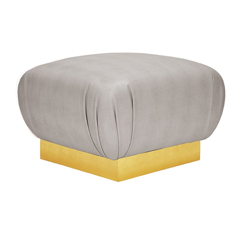 Faux Shagreen Grey Ottoman With Gold Leaf Base - Each Dye Lot May Vary Slightly In Color