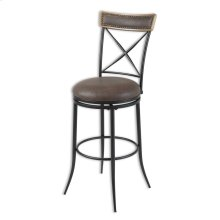 Boise Metal Barstool with Black Upholstered Swivel-Seat and Charcoal Frame Finish, 30-Inch
