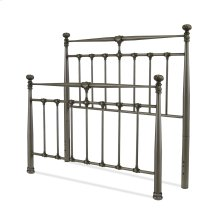 Kensington Metal Headboard and Footboard Bed Panels with Stately Posts and Detailed Castings, Vintage Silver Finish, Queen