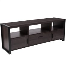 Charcoal Wood Grain Finish TV Stand and Media Console with Black Metal Frame