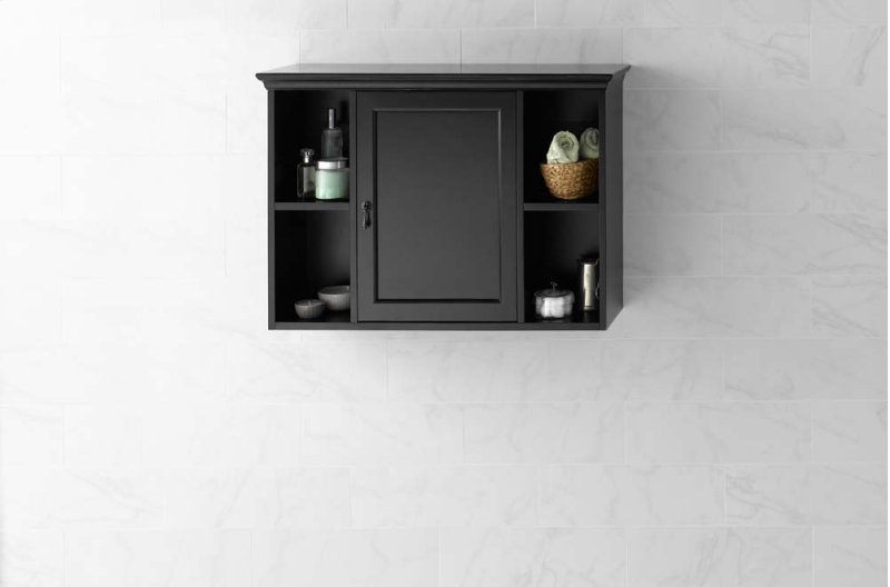 Traditional Bathroom Wall Cabinet in Antique Black