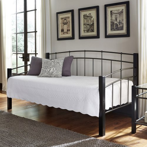 Scottsdale Complete Metal Daybed with Link Spring Support Frame and Dark Espresso Wooden Posts, Black Speckle Finish, Twin