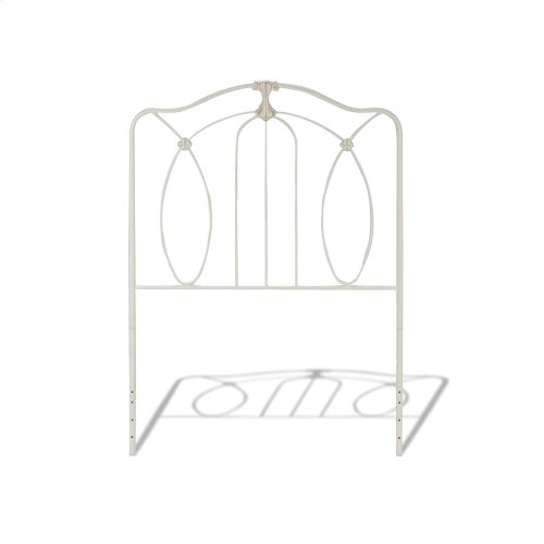 Kaylin Fashion Kids Metal Headboard and Footboard Bed Panels with Graceful Arches and Medallions Accents, Soft White Finish, Full