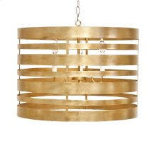 Gold Leaf Striped Metal Pendant With Interior 3 Candle Cluster. Uses Three 40w Chandelier Bulbs. Comes With 3' Antique Brass Chain and Canopy.