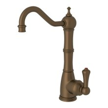 English Bronze Perrin & Rowe Edwardian Column Spout Hot Water Faucet with Traditional Metal Lever