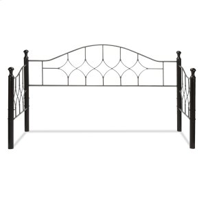 Fashion Bed GroupBianca Metal Daybed Frame with Arched Back Panel and Espresso Colored Wood Finial Posts, Hammered Pewter Finish, Twin