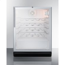 ADA Compliant, Commercially Approved Wine Cellar for Built-in Undercounter Use, With Glass Door, Black Cabinet and Lock