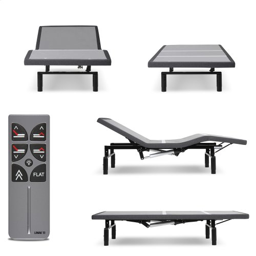 Falcon 2.0+ Low-Profile Adjustable Bed Base with Under-Bed Lighting, Charcoal Gray, Full