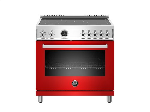 36 inch Induction Range, 5 Heating Zones, Electric Self-Clean Oven Red