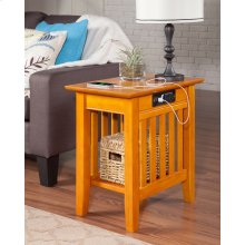 Mission Chair Side Table with Charger Caramel Latte