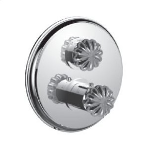 """7097tt-tm - 1/2"""" Thermostatic Trim With Volume Control and 2-way Diverter in Unlacquered Brass"""