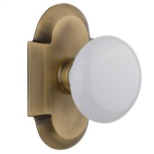 Nostalgic - Single Dummy Knob - Cottage Plate with White Porcelain Knob in Antique Brass