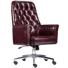 Mid-Back Traditional Tufted Burgundy Leather Executive Swivel Chair with Arms