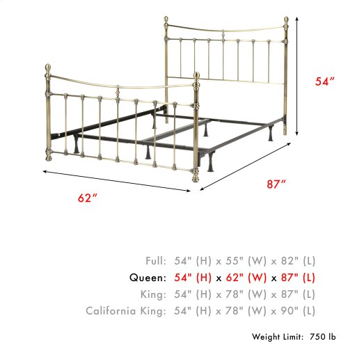 Leighton Complete Metal Bed and Steel Support Frame with Straight-Lined Spindles and Scalloped Castings, Glazed Brass Finish, Queen