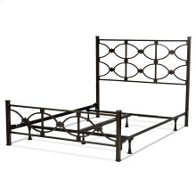 Marlo Complete Bed with Metal Panels and Squared Finial Posts, Burnished Black Finish, California King