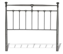 Kensington Metal Headboard with Stately Posts and Detailed Castings, Vintage Silver Finish, Full