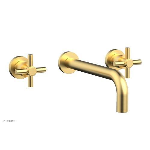 "Basic Wall Tub Set 10"" Spout - Tubular Cross Handles D1134-10 - Burnished Gold"