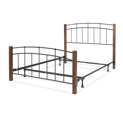 Benson Complete Metal Bed and Steel Support Frame with Maple Wood Posts and Sloping Top Rails, Black Finish, Queen