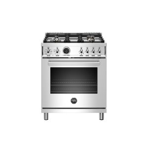 Bertazzoni30 inch Dual Fuel Range, 4 Brass Burner, Electric Self-Clean Oven Stainless Steel