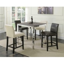 Eldridge Weathered Grey Chrome Counter-height Table