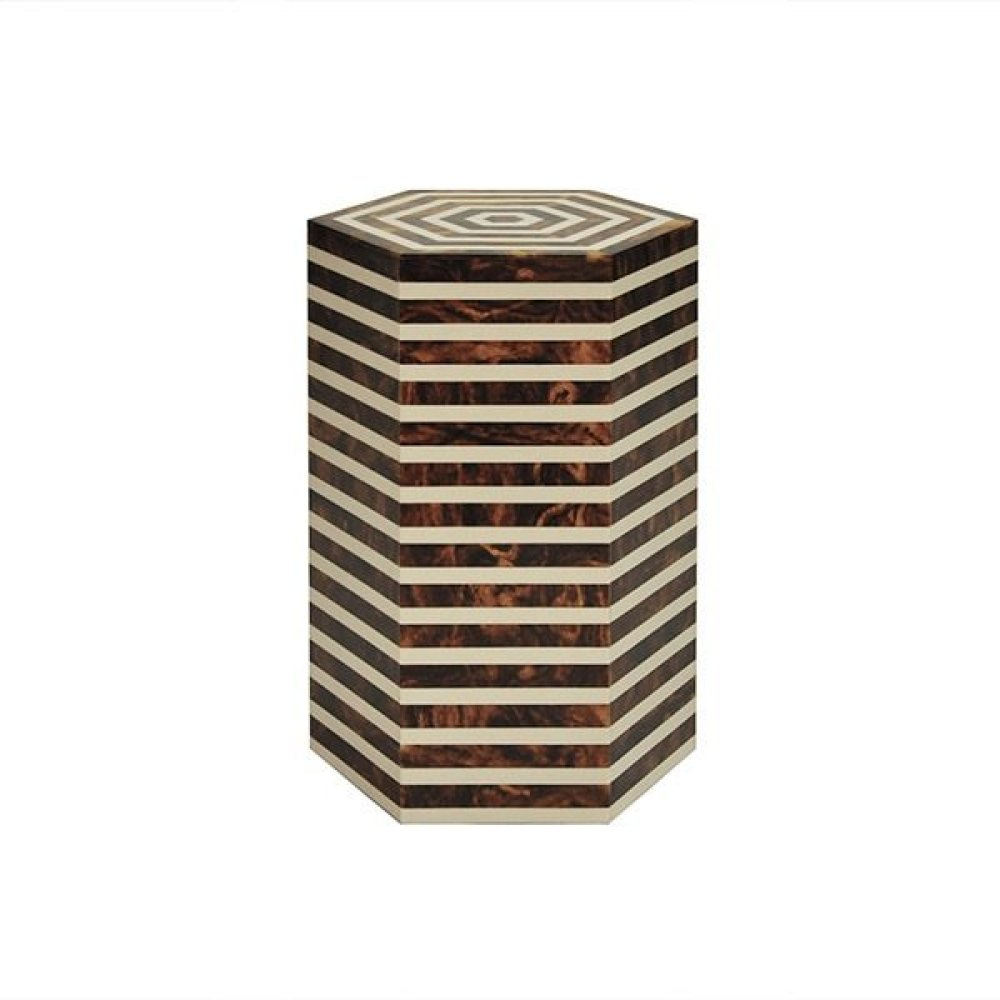 Horizontal Stripe Side Table In Brown and Off White Resin