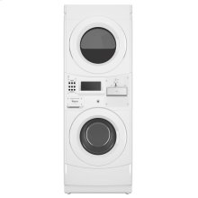 Commercial Gas Stack Washer/Dryer, Coin Equipped White