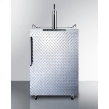 Freestanding Residential Outdoor Beer Dispenser, Auto Defrost With Digital Thermostat, Stainless Steel Wrapped Cabinet, Diamond Plate Door, and Towel Bar Handle